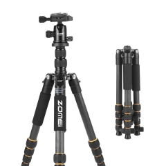 Q666C Folding Carbon Fiber Portable Tripod to Professionals Easy to Operate as a Travel Companion