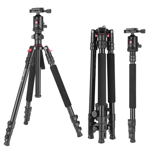 M7 Camera Aluminium Tripod 63-inch with Ball Head with Ball Head Quick Release Plate DSLR Tripod Monopod for Camera