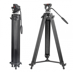 ZOMEi VT530 Professional Video Tripod 74 Inch with 360 Degree Fluid Drag Head, 1/4 Quick Release Plate for DV Cameras Camcorders
