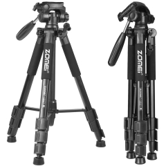 ZOMEi Q111 Portable Aluminum Tripod Stand Kit for Live Broadcast Video Photography and Wildlife Photography - Black