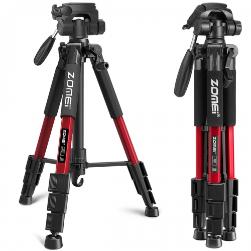 Q111 Travel Aluminum Tripod Kit 4-Section with 3-Way Pan Head for Beginner Photographers - Red