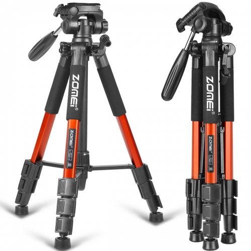 Q111 Travel Aluminum Tripod Kit 4-Section with 3-Way Pan Head for Beginner Photographers - Orange