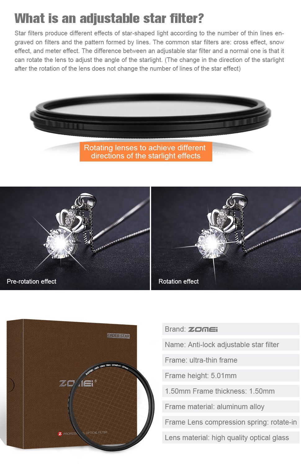 ZOMEi 4 Points Star Filter for Canon Nikon Cameras-72mm