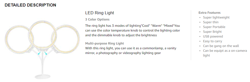 led selfie ring light