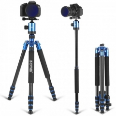 ZOMEI Z818 / Z888 Aluminum Sturdy Tripod Stand with 360 Degree Ball Head and Carry Case for YouTube Videos and Lighting Studio Support - Blue