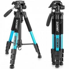 ZOMEi Q111 Lightweight Backpacking Tripod Kit 4-Section with 3-Way Pan Head and Carrying Case for Home Travel Photography Camera DV - Blue