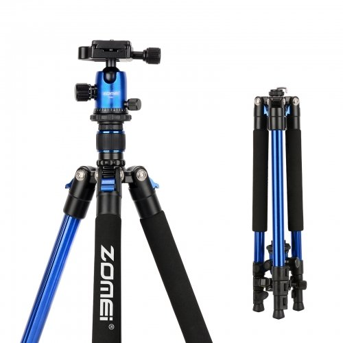 ZOMEi Q555 Aluminum Camera Tripod Kit with 360 Degree Ball Head Quick Release Plate for Solar Telescopes and Binoculars - Blue