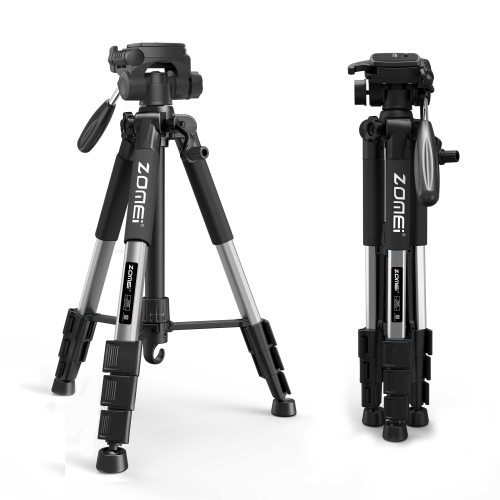 ZOMEi Q111 Lightweight Backpacking Tripod Kit 4-Section with 3-Way Pan Head and Carrying Case for Home Travel Photography Camera DV -Silver