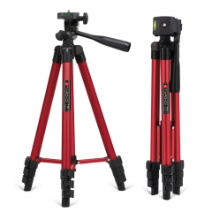 Tairoad 50 Inch Light Weight Portable Travel Tripod for Fishing Light, Mini Projector, Security Camera, Tiny Camera Telescope with Carrying bag(red)