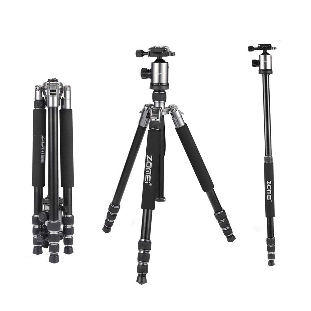 "Aluminum Travel Tripod Monopod for DSLR Camera for DSLR Shooting Video Camcorder Professional Video Tripod Durable Tripod Camera Photography Tripod 65.5/"" Color : Black, Size : One Size"