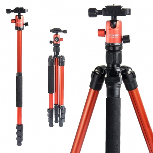 ZOMEi M3 Orange Compact Ball Head Tripod Kit 62.5 Inch for Wedding and Party Photography with Monopod Conversion