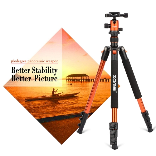 ZOMEi Q555 Aluminum Camera Tripod Kit with 360 Degree Ball Head Quick Release Plate for Solar Telescopes and Binoculars