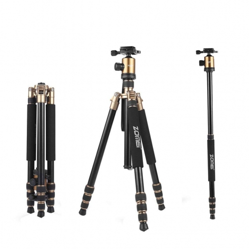 ZOMEi Z818 / Z888 Heavy Duty Camera Tripod 65 Inch for Professional Photographic Shooting for Landscape and Food Photography - Gold
