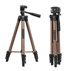 Tairoad 50 Inch Light Weight Portable Travel Tripod for Fishing Light, Mini Projector, Security Camera, Tiny Camera Telescope with Carrying bag(gold)