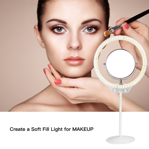 ZOMEi Beauty Light Stepless Dimming Desktop LED Ring Light 7.5W Lighting Kit with Mini Ball Head, Phone Holder Mirror