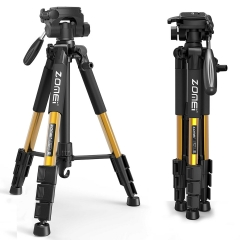 ZOMEi Q111 Lightweight Backpacking Tripod Kit 4-Section with 3-Way Pan Head and Carrying Case for Home Travel Photography Camera DV -Gold