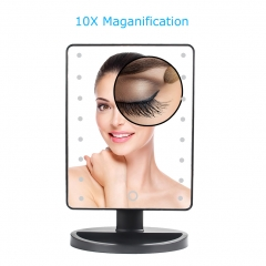 Natural Daylight Lighted Makeup Mirror / Vanity Mirror with Touch Screen Dimming, Detachable 10X Magnification Spot Mirror