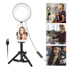 "LED Ring Light 6"" Portable for YouTube Video and Makeup 3 Colors Light Modes with Tripod Stand Smartphone Holder"