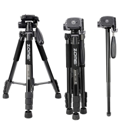 Zomei Q222 Camera Tripod Monopod 58-inch Travel Aluminum Tripod with 3-Way Swivel Pan Head and Carrying Bag (Black)