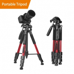 "Tairoad 55"" Compact Travel Tripod, Light Weight Portable Camera Tripod for SLR Canon Nikon Sony DSLR Camera with Carry Case (Red)"