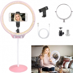 ZOMEI 10 Inch Dimmable LED Ring Light for Selfie Makeup with Mirror, Phone Holder (Pink)