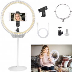 ZOMEI 10 Inch Dimmable LED Ring Light for Selfie Makeup with Mirror, Phone Holder (White)