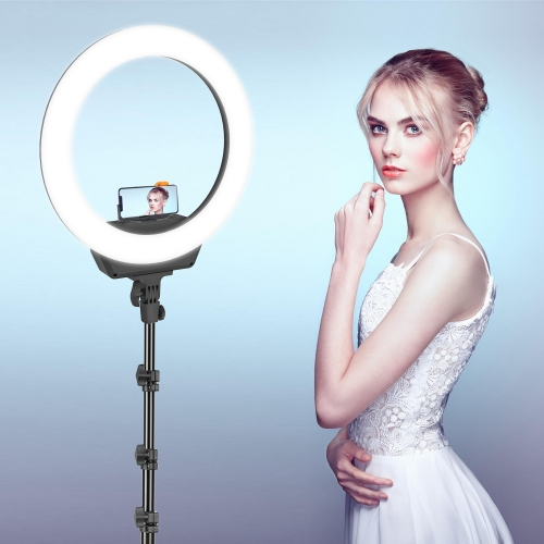 ZOMEI 16 Inch LED Selfie Ring Light Camera Lamp 3200-5600K with Tripod Stand Cellphone Holder Kit for Video Live Stream Makeup for iPhone X/Xs/XR/8/8
