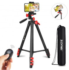 "ZoMei Phone Tripod, 52"" Adjustable Travel Tripod for iPhone/Android, Aluminum Lightweight Cell Phone Tripod with Wireless Remote and Universal Clip fo"